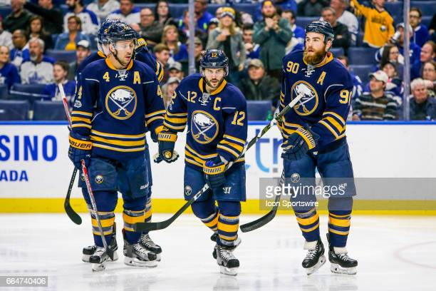 Sabres teammates celebrate goal by Buffalo Sabres Center Ryan O'Reilly during the Toronto Maple Leafs and Buffalo Sabres NHL game on April 3 at...