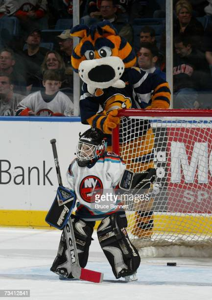 Sabretooth, the mascot for the Buffalo Sabres, makes an appearance between periods on 'Mascot Day' as The Montreal Canadiens get defeated by the New...