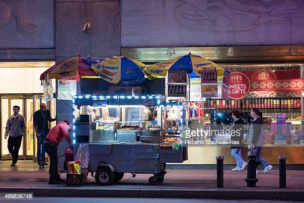Sabrett branded cart on New York City street selling hot dogs and frankfurters Sabrett is a registered trademark owned by Marathon Enterprises Inc a...