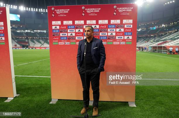 Sabri Lamouchi, Head Coach of Al Duhail SC looks on during a post match interview during the FIFA Club World Cup Qatar 2020 Second Round match...