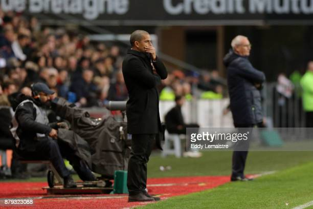 Sabri Lamouchi headcoach of Rennes and Claudio Ranieri Head coach of Nantes during the Ligue 1 match between Stade Rennais and Nantes at Roazhon Park...