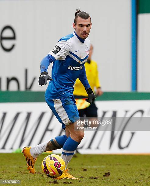 Sabrin Sburlea of Rostock runs with the ball during the Third League match between Hansa Rostock and Jahn Regensburg at DKBArena on February 7 2015...