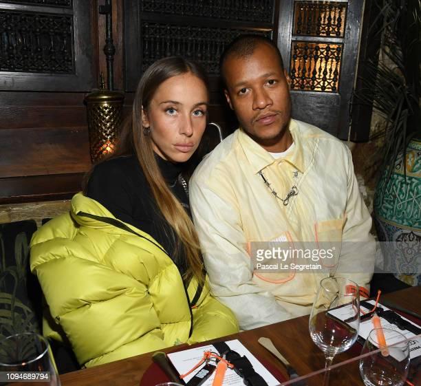 Sabrina Albarello and Heron Preston attend Heron Preston + UGG Paris Fashion Week Dinner At Le 404 Restaurant as part of Paris Fashion Week on...