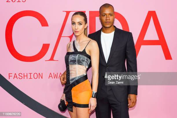 Sabrina Albarello and Heron Preston attend the 2019 CFDA Fashion Awards- Arrivals at Brooklyn Museum on June 03, 2019 in New York City.