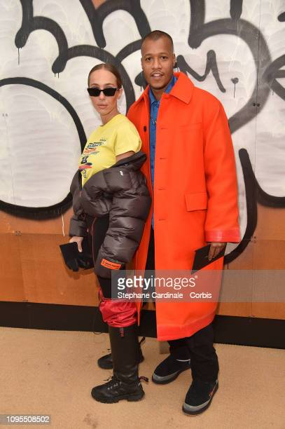 Sabrina Albarello and Heron Preston attend the Louis Vuitton Menswear Fall/Winter 2019/2020 show as part of Paris Fashion Week on January 17, 2019 in...