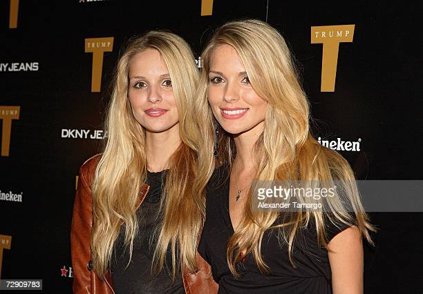 Sabrina Aldridge and Kelly Aldridge pose at the DKNY Jeans New Year's Eve celebration at the Setai Hotel on December 31 2006 in Miami Beach Florida