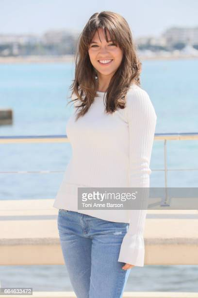 Sabrina Bartlett attends 'Knightfall' photocall during MIPTV 2017 on April 4 2017 in Cannes France