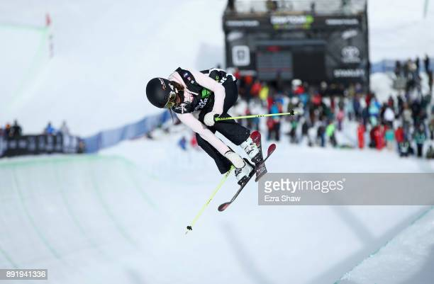 Sabrina Cakmakli of Germany competes in the women's Ski Superpipe qualification during Day 1 of the Dew Tour on December 13 2017 in Breckenridge...