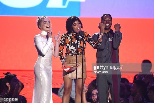 Sabrina Carpenter, Amandla Stenberg, and Algee Smith speak onstage during the 2018 MTV Video Music Awards at Radio City Music Hall on August 20, 2018...