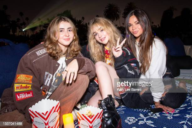 Sabrina Carpenter and friends attend Cinespia's screening of 'Harry Potter and the Prisoner of Azkaban' held at Hollywood Forever on August 28, 2021...