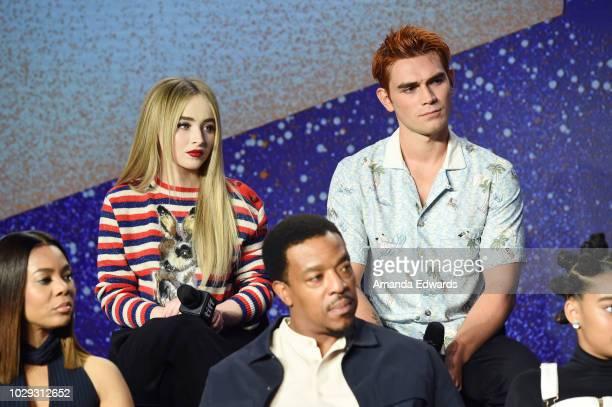 Sabrina Carpenter and KJ Apa speak onstage at The Hate U Give Press Conference during 2018 Toronto International Film Festival at TIFF Bell Lightbox...
