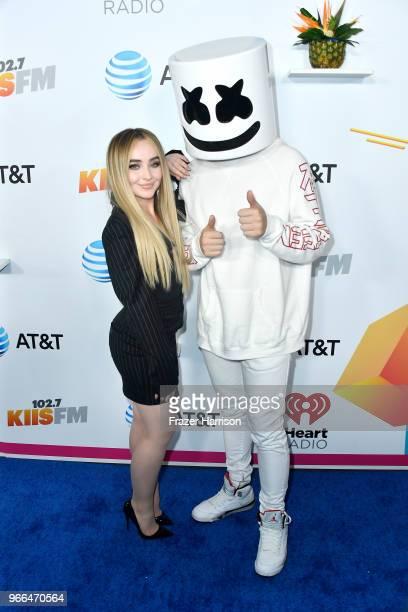 Sabrina Carpenter and Marshmello attend iHeartRadio's KIIS FM Wango Tango by ATT at Banc of California Stadium on June 2 2018 in Los Angeles...