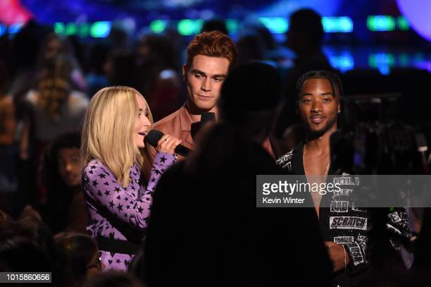 Sabrina Carpenter KJ Apa and Algee Smith attend FOX's Teen Choice Awards at The Forum on August 12 2018 in Inglewood California