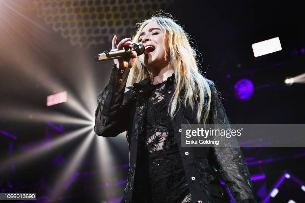 Sabrina Carpenter performs during 1061 KISS FM's Jingle Ball 2018 at American Airlines Center on November 27 2018 in Dallas Texas