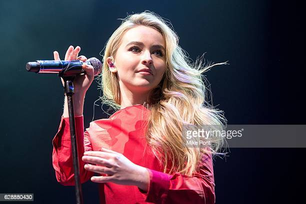 Sabrina Carpenter performs during the 2016 Z100 Jingle Ball Pre Show at Hammerstein Ballroom on December 9 2016 in New York City