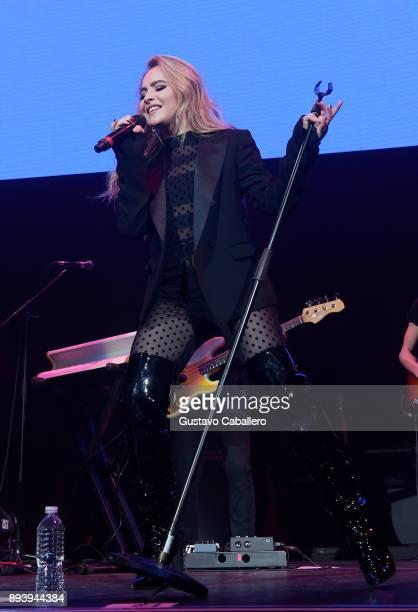 Sabrina Carpenter performs onstage during 933 FLZ's Jingle Ball 2017 at Amalie Arena on December 16 2017 in Tampa Florida