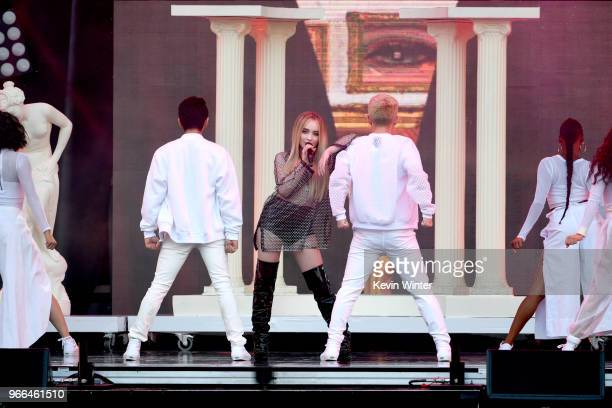 Sabrina Carpenter performs onstage during the 2018 iHeartRadio Wango Tango by ATT at Banc of California Stadium on June 2 2018 in Los Angeles...
