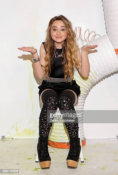 Sabrina Carpenter poses on the media wall ahead of the Nickelodeon Slimefest 2014 matinee show at Sydney Olympic Park Sports Centre on September 26...
