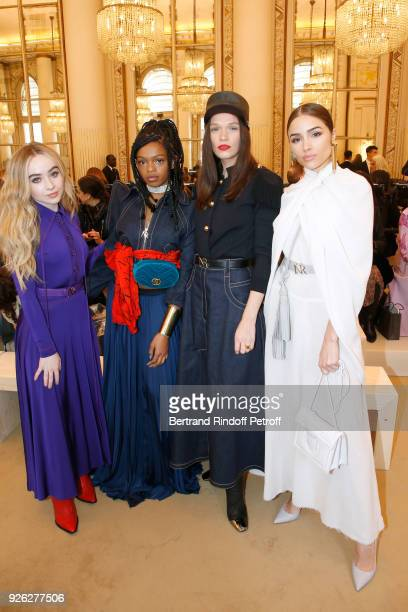 Sabrina Carpenter Selah Marley Anna Brewster and Olivia Culpo attend the Nina Ricci show as part of the Paris Fashion Week Womenswear Fall/Winter...