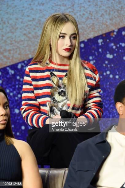Sabrina Carpenter speaks onstage at The Hate U Give Press Conference during 2018 Toronto International Film Festival at TIFF Bell Lightbox on...
