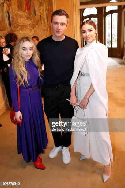 Sabrina Carpenter Stylist Guillaume Henry and Olivia Culpo pose after the Nina Ricci show as part of the Paris Fashion Week Womenswear Fall/Winter...