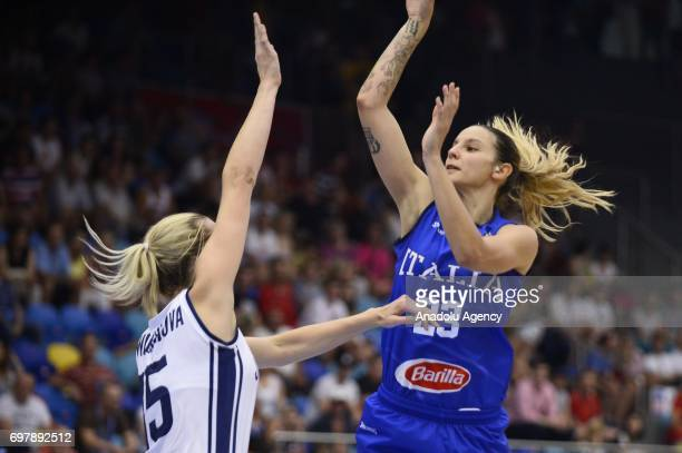 Sabrina Cinili of Italy in action against Romana Vynuchalova of Slovakia during the 2017 FIBA EuroBasket Women qualifications match between Slovakia...