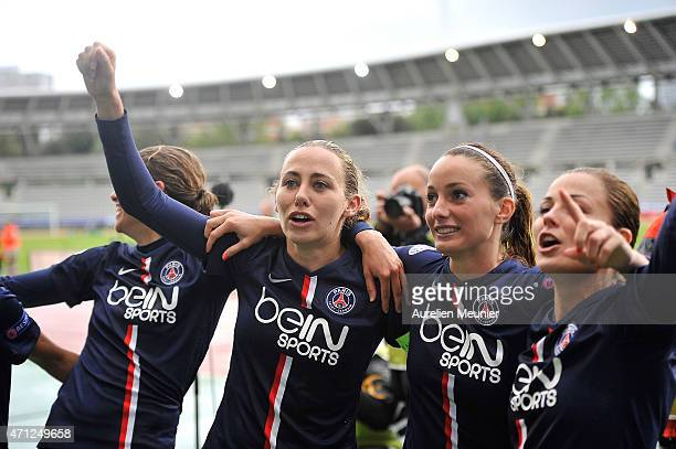 Sabrina Delannoy Kosovare Asllani and Laure Boulleau of PSG celebrates the 21 victory over Wolfsburg during the UEFA Womens Champions League...