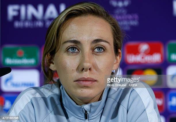 Sabrina Delannoy of Paris attends the press conference a day before the UEFA Women's Champions League Final match between 1 FFC Frankfurt and Paris...