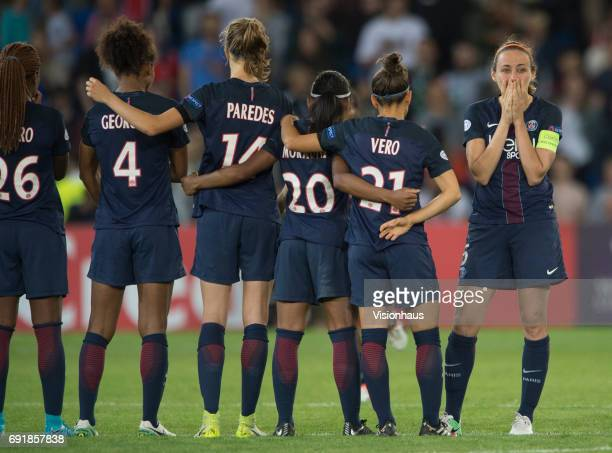 Sabrina Delannoy of Paris Saint Germain can't watch as she turns her back on the penalty shoot out during the UEFA Women's Champions League Final...