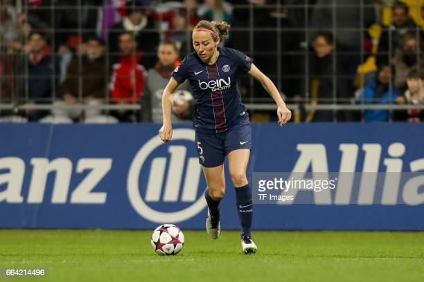 Sabrina Delannoy of Paris Saint Germain controls the ball during the Champions League match between Bayern Munich and Paris Saint Germain at...