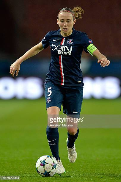 Sabrina Delannoy of Paris SaintGermain in action during the UEFA Woman's Champions League Quarter Final match between Glasgow City and Paris...
