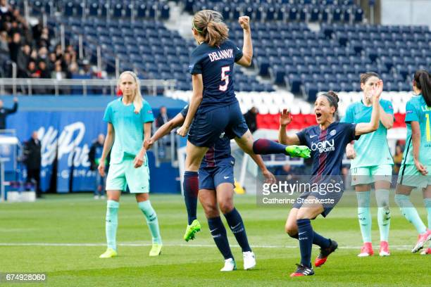 Sabrina Delannoy of Paris SaintGermain is celebrating her goal from a penalty shot during the Women's Champions League match between Paris Saint...