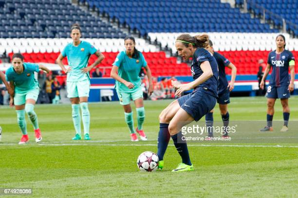Sabrina Delannoy of Paris SaintGermain is shooting a penalty during the Women's Champions League match between Paris Saint Germain and Barcelona at...
