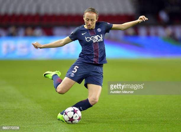 Sabrina Delannoyof Paris Saint Germain in action during the Champions League match between Paris Saint Germain and Bayern Munich at Parc des Princes...