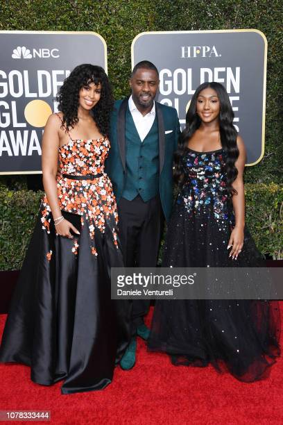Sabrina Dhowr Idris Elba and Isan Elba attend the 76th Annual Golden Globe Awards at The Beverly Hilton Hotel on January 6 2019 in Beverly Hills...