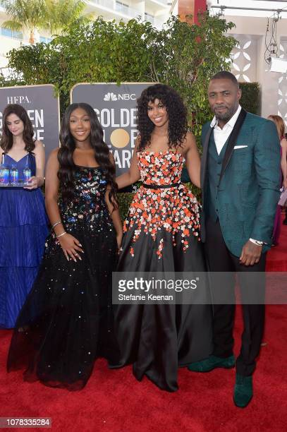 Sabrina Dhowr Isan Elba and Idris Elba attend FIJI Water at the 76th Annual Golden Globe Awards on January 6 2019 at the Beverly Hilton in Los...