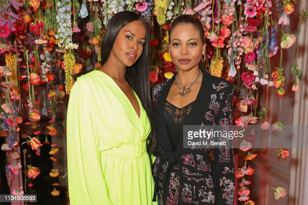 Sabrina Dhowre and Emma Weymouth attend the celebration hosted by Saloni Lodha of Phoolon Ki Holi the Indian festival of colours played with flowers...