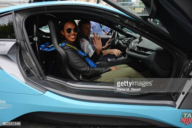 Sabrina Dhowre and Formula E CEO Alejandro Agag attend the ABB FIA Formula E Qatar Airways Paris EPrix 2018 on April 28 2018 in Paris France