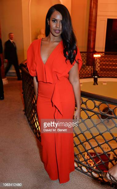 Sabrina Dhowre attends The 64th Evening Standard Theatre Awards at the Theatre Royal Drury Lane on November 18 2018 in London England