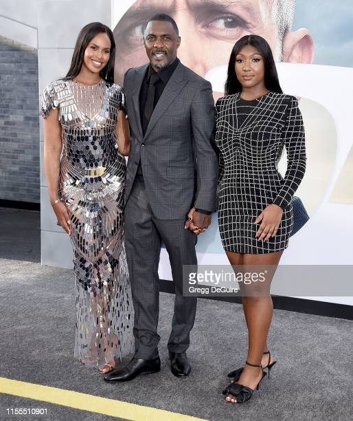 Sabrina Dhowre Elba Idris Elba and Isan Elba arrive at the Premiere Of Universal Pictures' Fast Furious Presents Hobbs Shaw at Dolby Theatre on July...