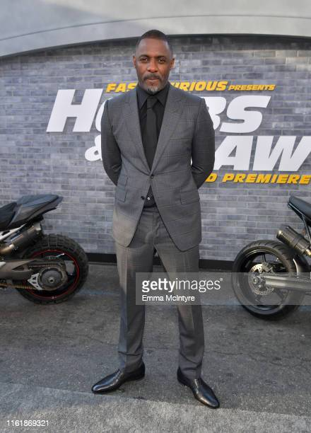 Sabrina Dhowre Elba Idris Elba and Isan Elba arrives at the premiere of Universal Pictures' Fast Furious Presents Hobbs Shaw at Dolby Theatre on July...