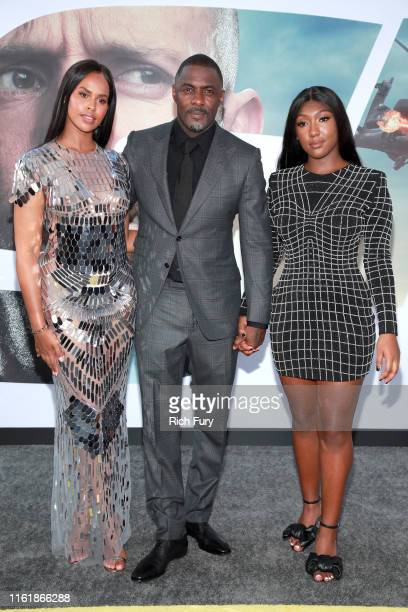 Sabrina Dhowre Elba Idris Elba and Isan Elba attend the premiere of Universal Pictures' Fast Furious Presents Hobbs Shaw at Dolby Theatre on July 13...