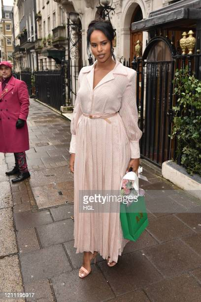 Sabrina Dhowre Elba seen departing Annabel's club in Mayfair on March 08, 2020 in London, England.