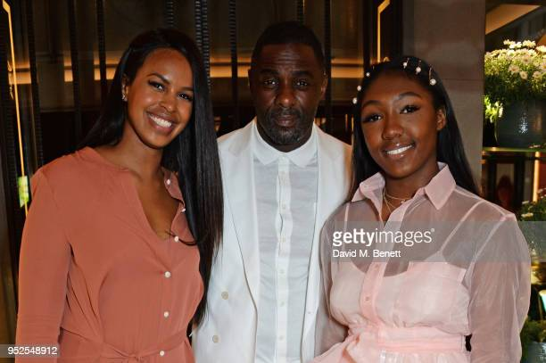 Sabrina Dhowre Idris Elba and daughter Isan Elba arrive at the ABB Formula E Qatar Airways Paris EPrix official after party on April 28 2018 in Paris...