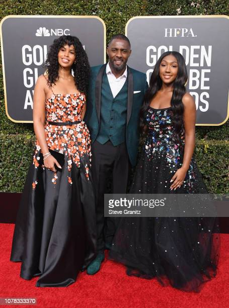 Sabrina Dhowre Idris Elba and Isan Elba attend the 76th Annual Golden Globe Awards at The Beverly Hilton Hotel on January 6 2019 in Beverly Hills...