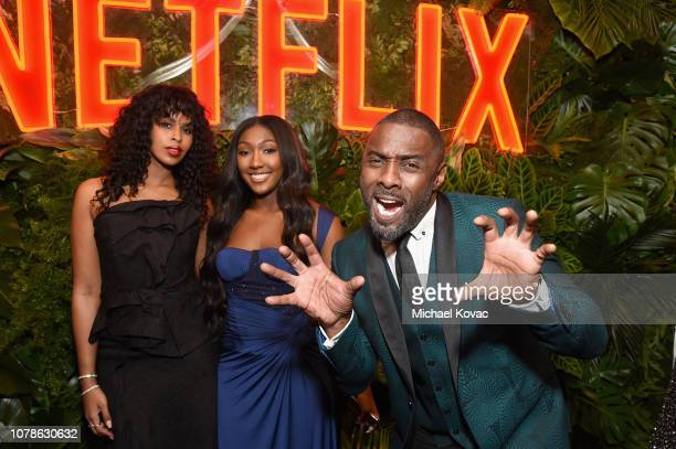 Sabrina Dhowre Isan Elba and Idris Elba attend the Netflix 2019 Golden Globes After Party on January 6 2019 in Los Angeles California