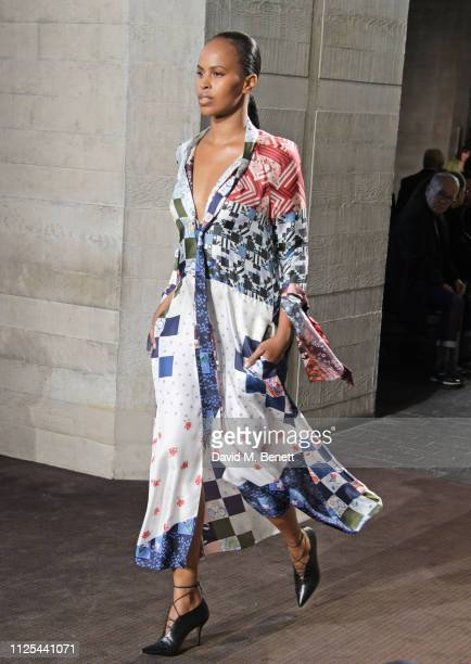 Sabrina Dhowre walks the runway at the Roland Mouret show during London Fashion Week February 2019 at The National Theatre on February 17 2019 in...