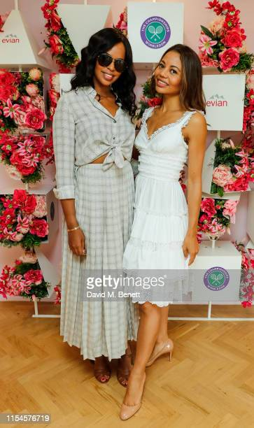 Sabrina Elba and Lady Emma Weymouth at the Evian Live young suite at Wimbledon 2019 at Wimbledon on July 8 2019 in London England