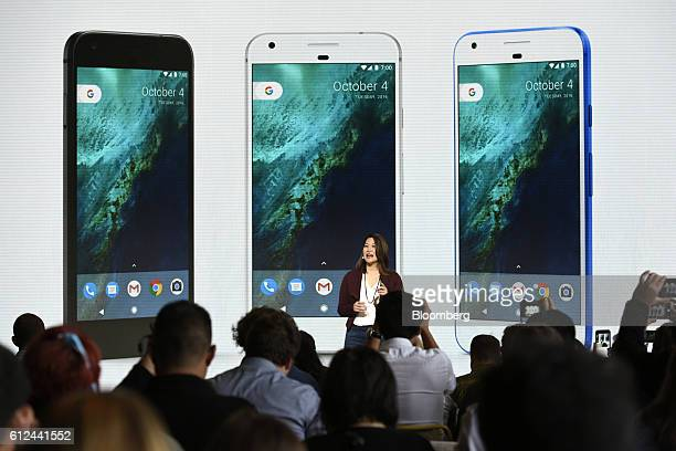 Sabrina Ellis director of product management for Google Inc discusses the Google Pixel smartphone during a Google product launch event in San...