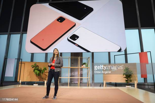 Sabrina Ellis Google vice president of product management introduces the new Google Pixel 4 smartphone during a Google launch event on October 15...